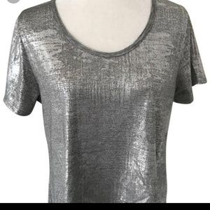 LuLuRoe  Silver high/low shirt Large
